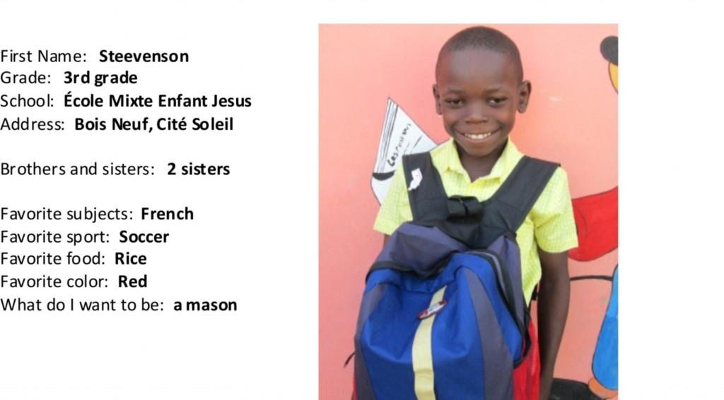 Steevenson with school bag