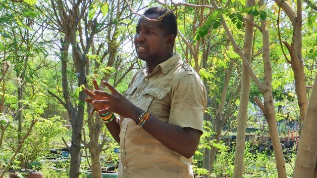 Daniel Tillias in Sakala's community garden